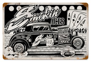 Smokin' Aces Vintage Metal Sign