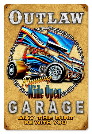 Outlaw Garage 2 Vintage Metal Sign
