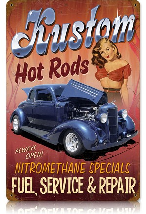 Kustom Hot Rods Vintage Metal Sign