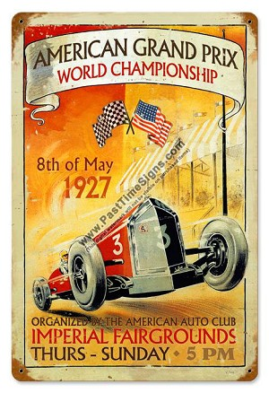 American Grand Prix Vintage Metal Sign