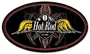Von Hot Rod Pinstripe Vintage Metal Sign