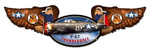 P-47 Thunderbolt Winged Vintage Metal Sign