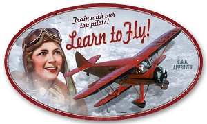 Learn to Fly Vintage Metal Sign