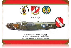 B-24 Liberator Witchcraft Vintage Metal Sign