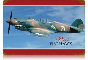 P-40 Warhawk Vintage Metal Sign