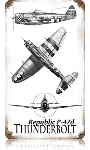 P-47 Thunderbolt Vintage Metal Sign