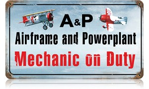 Airframe Powerplant Color Vintage Metal Sign