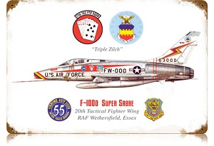F-100 Super Sabre Vintage Metal Sign