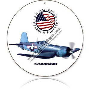 F4U Corsair Round Metal Sign
