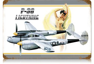 P-38 Lightning Vintage Metal Sign