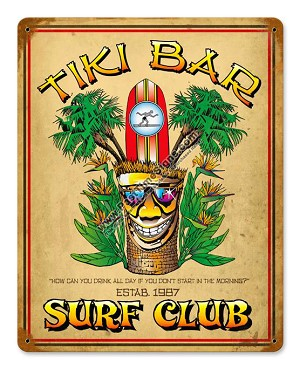 Tiki Bar Surf Club Metal Sign