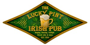 Lucky Pint Irish Pub Vintage Metal Sign
