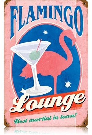 Flamingo Lounge Vintage Metal Sign