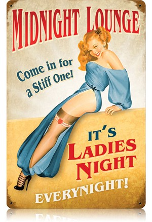 Midnight Lounge Vintage Metal Sign