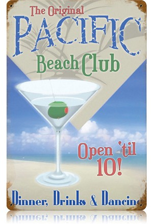 Pacific Beach Club Vintage Metal Sign