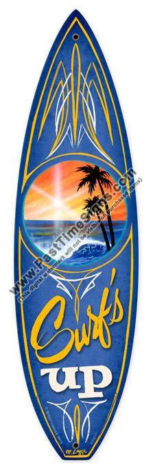 Surfs Up Surfboard Metal Sign