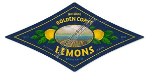 Golden Coast Lemons Vintage Metal Sign