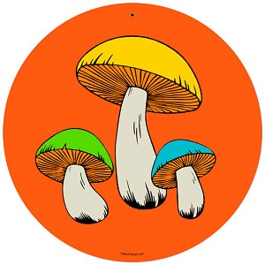 Mushrooms Round Metal Sign