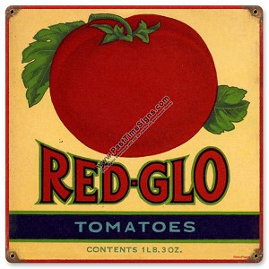 Red Glo Tomatoes Vintage Metal Sign