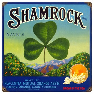 Shamrock Oranges Vintage Metal Sign