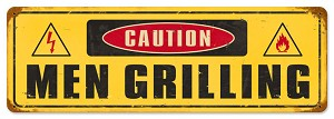 Men Grilling Vintage Metal Sign