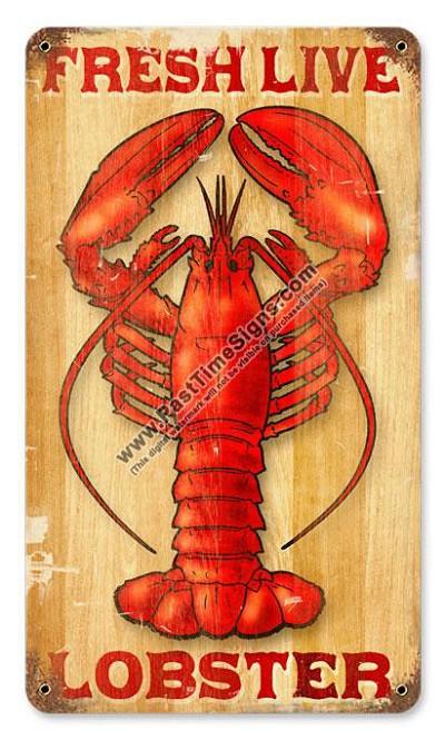 Fresh Live Lobster Metal Sign