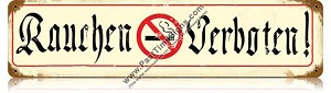 Rauchen Verboten (No Smoking) Vintage Metal Sign