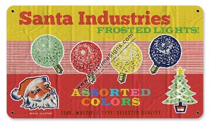 Frosted Christmas Lights Vintage Metal Sign