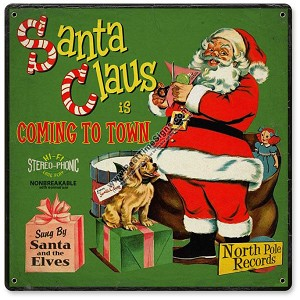 Santa Record Cover Vintage Metal Sign