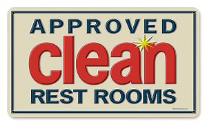 Clean Rest Rooms Vintage Metal Sign