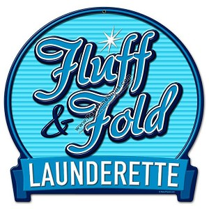 Fluff & Fold Launderette Vintage Metal Sign