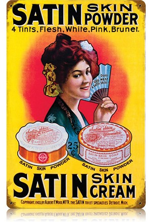 Satin Powder Vintage Metal Sign