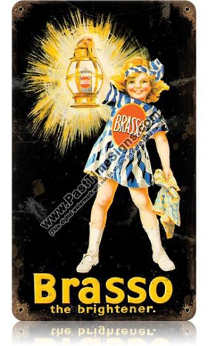 Brasso Metal Polish Vintage Metal Sign