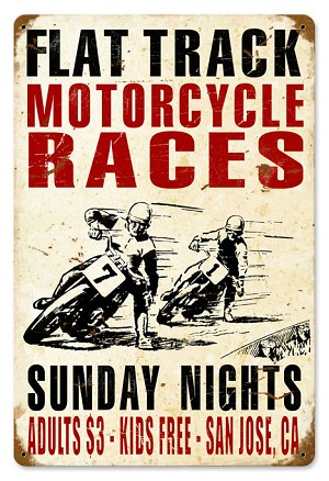 Flat Track Motorcycle Races Vintage Metal Sign