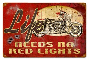 No Red Lights Vintage Metal Sign