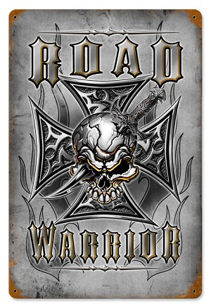 Road Warrior Vintage Metal Sign