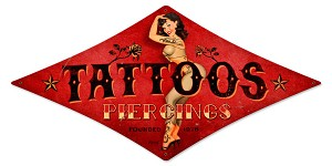 Tattoos Pin Up Vintage Metal Sign
