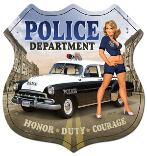 Police Girl  Vintage Metal Sign