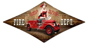 Fire Department Pinup Girl Vintage Metal Sign