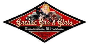 Grease Gas & Girls Vintage Metal Sign