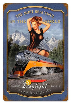 Southern Pacific Pin Up Girl Metal Sign