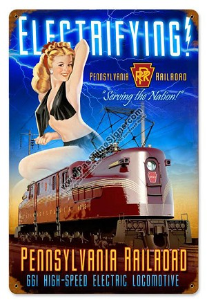 Pennsylvania Railroad Pin Up Girl Metal Sign
