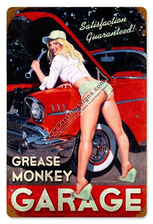 Grease Monkey Garage Pin Up Metal Sign