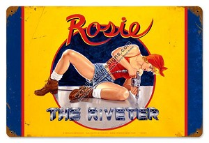 Rosie the Riveter Pin Up Metal Sign