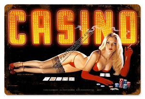 Red Light Casino Pin Up Metal Sign