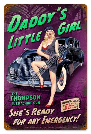 Daddy's Little Girl Pin Up Girl Metal Sign