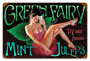 Green Fairy Mint Juleps Pin Up Girl Metal Sign