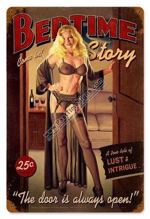 Bedtime Story Pin Up Girl Metal Sign