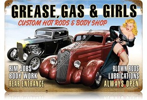 Grease, Gas & Girls Vintage Metal Sign