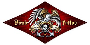 Pirate Tattoo Vintage Metal Sign